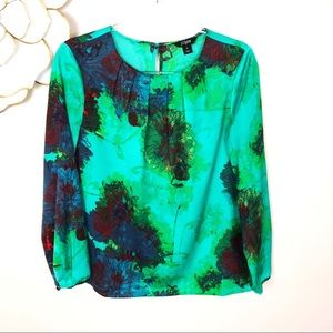 J Crew silky green watercolor floral blouse